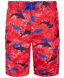 Big Boys Shark-Print Swim Trunks
