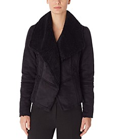 Faux-Shearling Asymmetrical Jacket