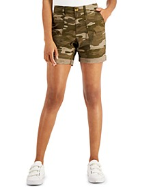 Petite Camo-Print Roll-Cuffed Shorts, Created for Macy's