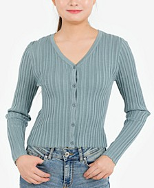 Juniors' Ribbed Cardigan Top