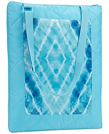 Quilted Tie-Dyed Diamond Grid Convertible Beach Blanket, Created for Macy's