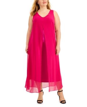 Plus Size Sheer Overlay Maxi Dress