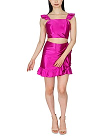 Juniors' 2-Pc. Satin Ruffled Bodycon Dress