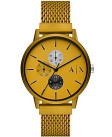 AX Men's Mutlifunction Yellow Mesh Strap Watch 42mm