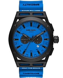 Men's Timeframe Chronograph Blue Silicone Strap Watch 48mm