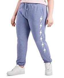 Trendy Plus Size Heathered Fleece Jogger Pants