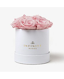 Round Box of 7 Pink Real Roses Preserved To Last Over A Year