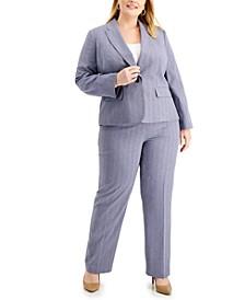 Plus Size Shadow-Stripe Pantsuit