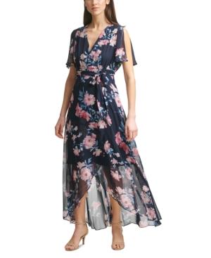 Jessica Howard FLORAL FAUX-WRAP MAXI DRESS