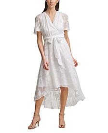 Jacquard Faux-Wrap Maxi Dress