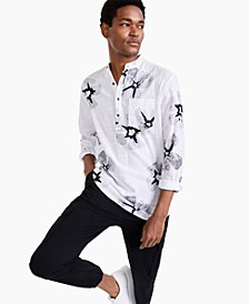 Men's Regular-Fit Floral-Print Band Collar Popover Shirt, Created for Macy's