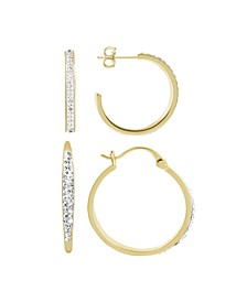 Clear Crystal C Hoop & Click Top Hoop Earring Set in Gold Plate or Fine Silver Plate