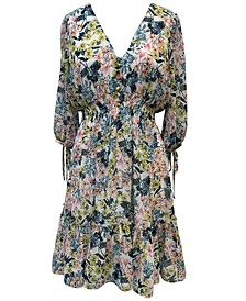 Plus Size Floral-Print Peasant Dress