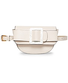 Oversize-Buckle Pebble-Faux-Leather Belt Bag