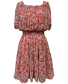 Plus Size Square-Neck Peasant Dress