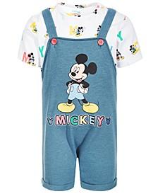 Baby Boys 2-Pc. Mickey Mouse Shortall & Printed T-Shirt Set