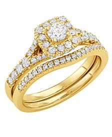 Diamond Halo Bridal Set (1 ct. t.w.) in 14k White or Yellow Gold