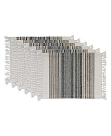 """Design Import Fringed Stripe Table Toppers, 13"""" x 20"""", Set of 6"""