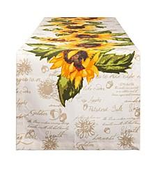 "Rustic Sunflowers Printed Table Runner, 14"" x 108"""