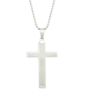 Men's Brushed Stainless Steel Cross Pendant Necklace