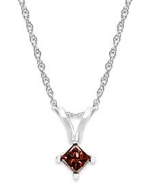 10k White Gold Red Diamond Pendant Necklace (1/6 ct. t.w.)