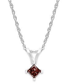 10k White Gold Red Diamond Pendant Necklace (1/6 ct. t.w.)