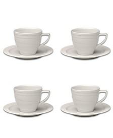 Essentials 6 Oz Porcelain Coffee Cup Saucer, Set of 4