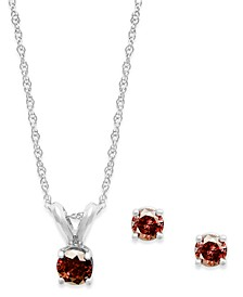 10k White Gold Red Diamond Necklace and Earring Set (1/5 ct. t.w.)