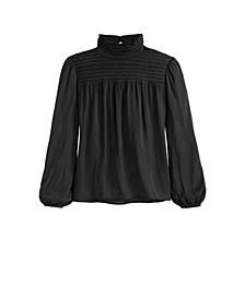 Women's Smocked Neck Blouson Sleeves Top