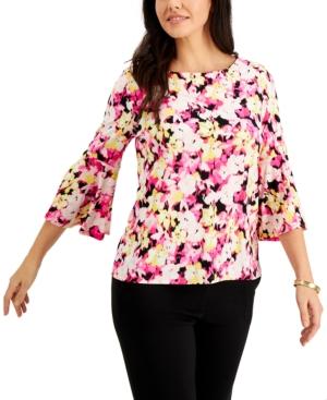 Floral-Print Bell-Sleeve Top