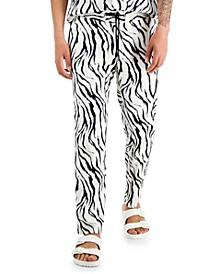Men's Zebra Print Pull-On Pants, Created for Macy's