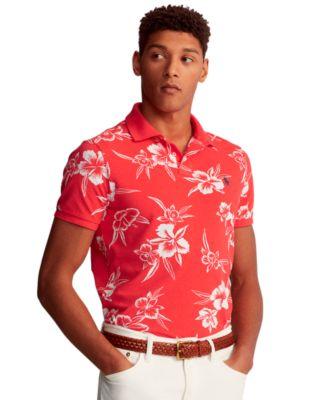 폴로 랄프로렌 Polo Ralph Lauren Mens Classic-Fit Floral Polo Shirt,Racing Red Pacific Hibiscus