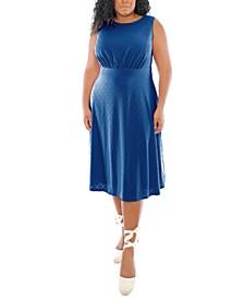 Plus Size Banded-Waist Midi Dress