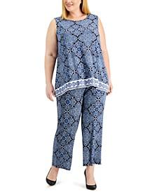 Plus Size Printed Knit Top & Pants