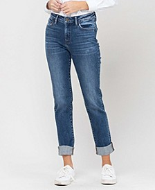 Women's Roll Up Stretch Boyfriend Jeans
