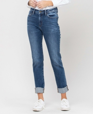 Women's Roll Up Stretch Boyfriend Jeans