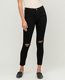 Women's Mid Rise Knee Distressed Crop Skinny Jeans