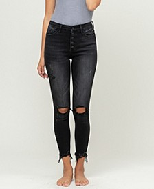 Women's High Rise Button Fly Distressed Crop Skinny Jeans