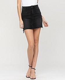Women's Raw Hem Mini Denim Skirt