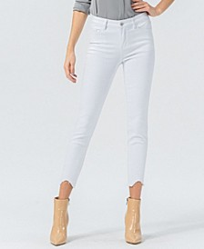 Women's Mid Rise Uneven Raw Hem Crop Skinny Jeans