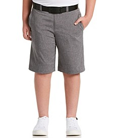 Big Boys Flat Front Heather Golf Shorts with Active Waistband