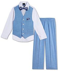 Baby Boys Bold Shirt, Dobby Vest, Pants & Bowtie Set