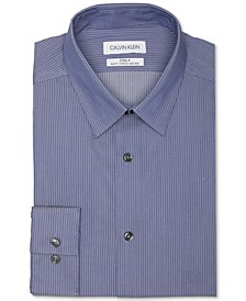 Men's Steel Slim-Fit Non-Iron Performance Stretch Navy Blue Herringbone Stripe Dress Shirt