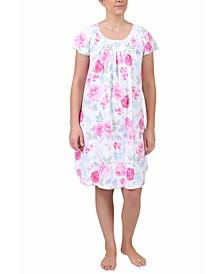 Plus Size Floral-Print Short-Sleeve Nightgown