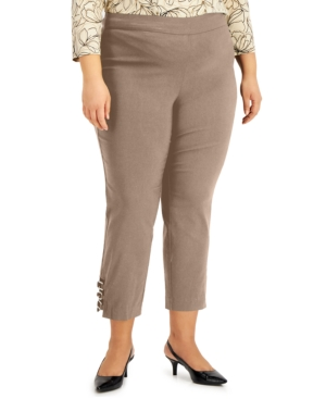 Plus Size Ring-Detail Pull-On Pants