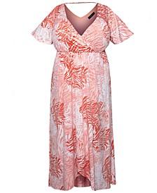 Plus Size Printed Jersey Maxi Dress