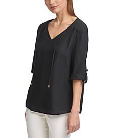 Tie-Neck Roll-Sleeve Linen Top