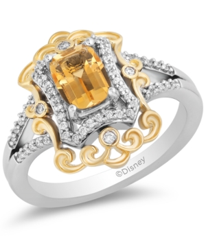 Citrine (7/8 ct. t.w.) & Diamond (1/5 ct. t.w.) Belle 30th Anniversary Ring in Sterling Silver & 14k Gold