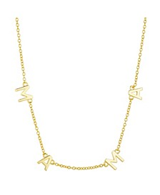 "Gold Flash Plated ""Mama"" Station Pendant Necklace"