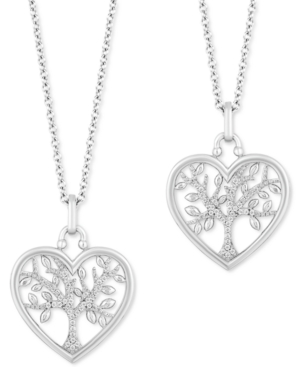"""2-Pc. Set Diamond """"Wear One Share One"""" Family Tree Pendant Necklaces (1/5 ct. tw) in Sterling Silver"""